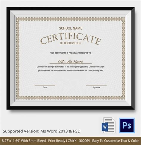 recognition certificates templates sle certificate of recognition templates