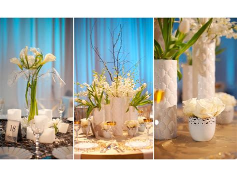 Floral Wedding Centerpieces For Tables Unique White And Blue Wedding Flower Centerpieces Onewed