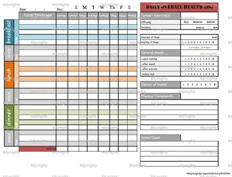 printable daily health journal daily overall health log printable pdf instant download
