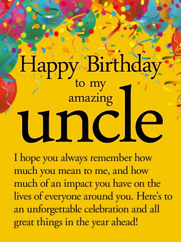 printable birthday cards uncle to an unforgettable year happy birthday wishes card for