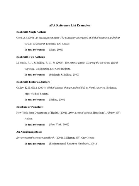 apa format reference exle reference list template 6 free templates in pdf word