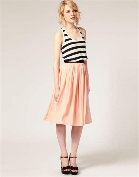 asos collection asos plain chiffon midi skirt in pink