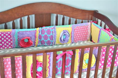 custom crib bumpers pink bumper pads yellow rag quilt