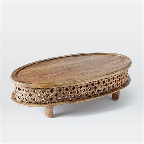 Carved Wood Coffee Table Carved Wood Ellipse Coffee Table West Elm