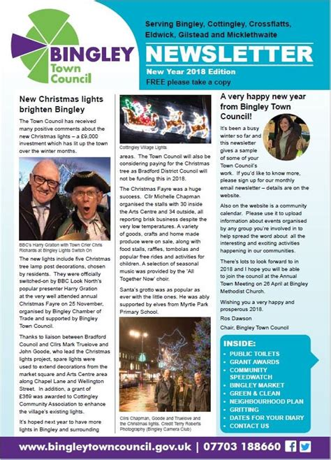 New Newsletter News by New Year 2018 Newsletter Bingley Town Council