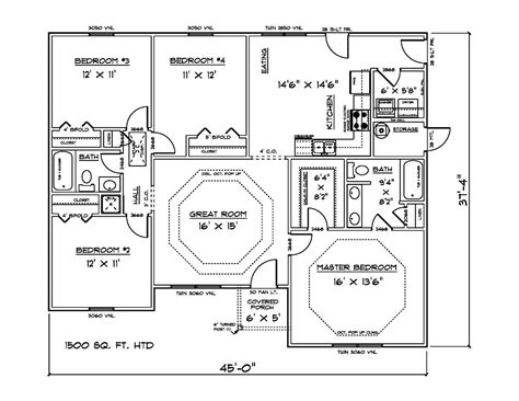 house plans for 1500 sq ft 4 bedroom house 60 00