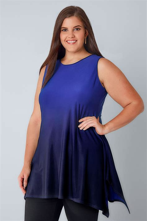 Cut Top blue navy ombre slinky stretch sleeveless top with cut out back plus size 16 to 36
