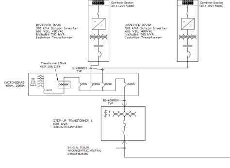 single line schematic diagram nverter to step up transformer single line diagram for the