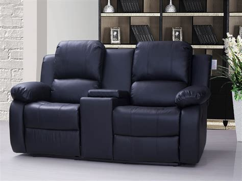 Leather Reclining Sofa With Console Valencia 2 Seater Leather Recliner Sofa With Drinks Console Black Ebay