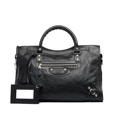 United Bag Check Policy by Balenciaga Giant 12 Silver City Black Black Women S