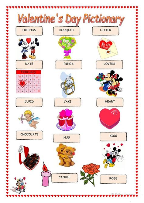 valentines day pictionary s day pictionary worksheet free esl printable