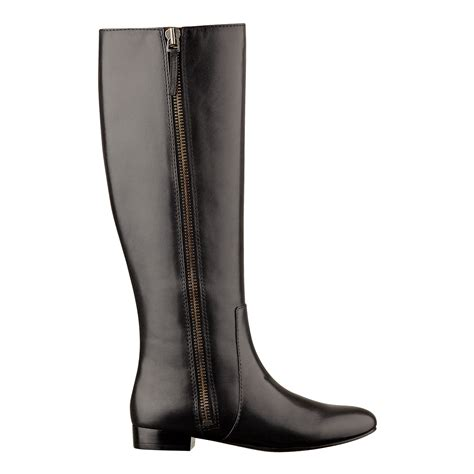 nine west port boot in black black leather lyst