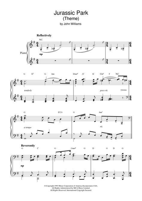theme music to jurassic park theme from jurassic park sheet music by john williams