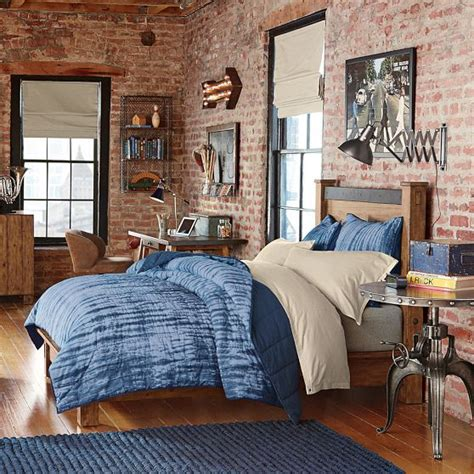 boys industrial bedroom tie dye exposed brick and dyes on pinterest