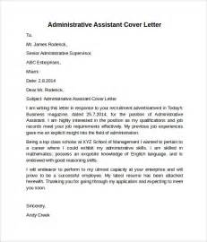 Cover Letter For Administrative Assistant by Administrative Assistant Cover Letter 9 Free Sles