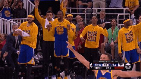 warriors bench reaction excited golden state warriors gif by nba find share on