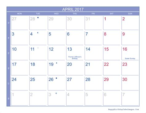 Printable Calendar With Holidays And Moon Phases April 2017 Calendar Printable Template Monthly Calendar 2017