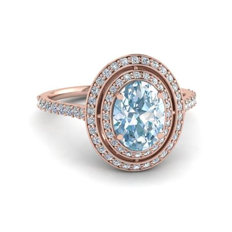 colored rings aquamarine halo colored engagement ring in 14k