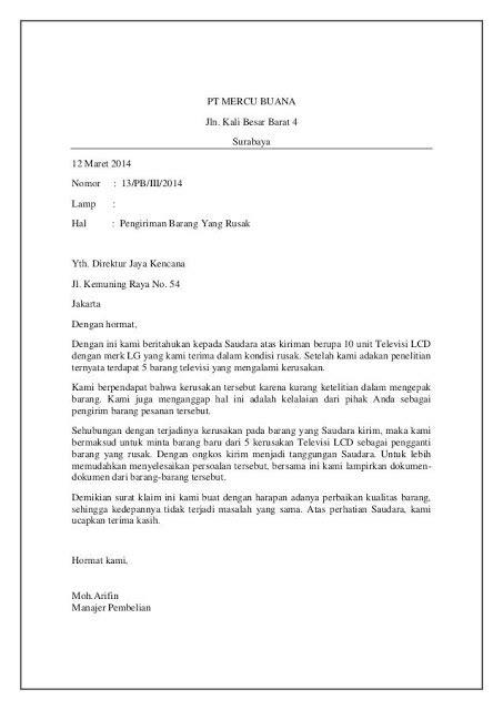 Contoh Surat Kronologis Kejadian by Contoh Surat Balasan Pengaduan Barang Produk