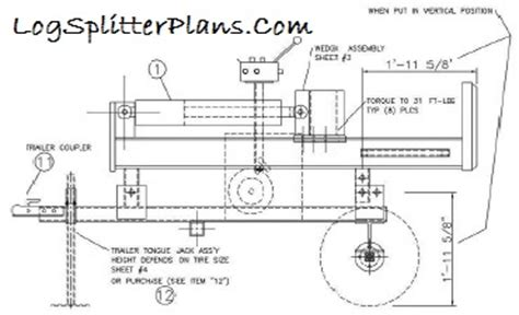 log splitter plans cad designs for home built diy assembly