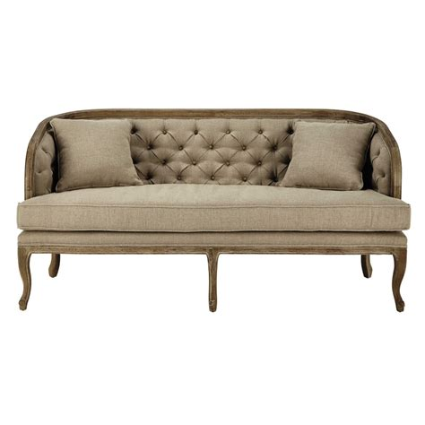 three seater settees 2 3 seater linen settee in natural melusine maisons du monde