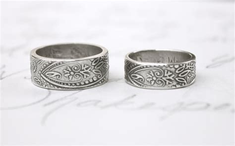 bohemian paisley wedding band ring set wide by