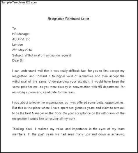 sle resignation withdrawal letter sle templates