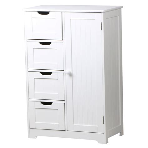 Bathroom Drawers White by White Wooden Bathroom Cabinet 4 Drawers Cupboard Storage