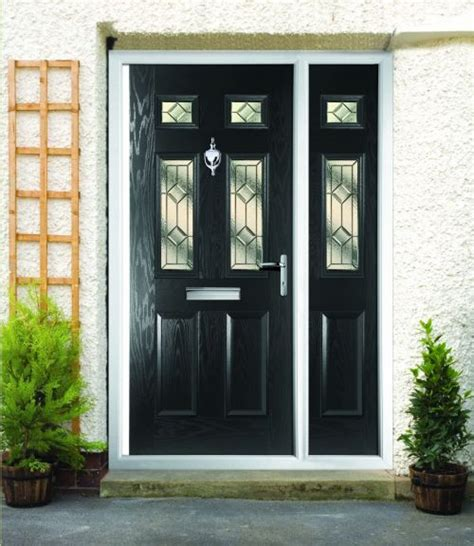 White Upvc Front Door With Side Panel White Upvc Door With Glass Panels Either Side Traditional Entry Door Side Light Fan