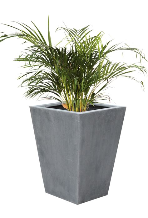 Polystone Planters by Polystone Flared Square Planter Grey Large H90cm