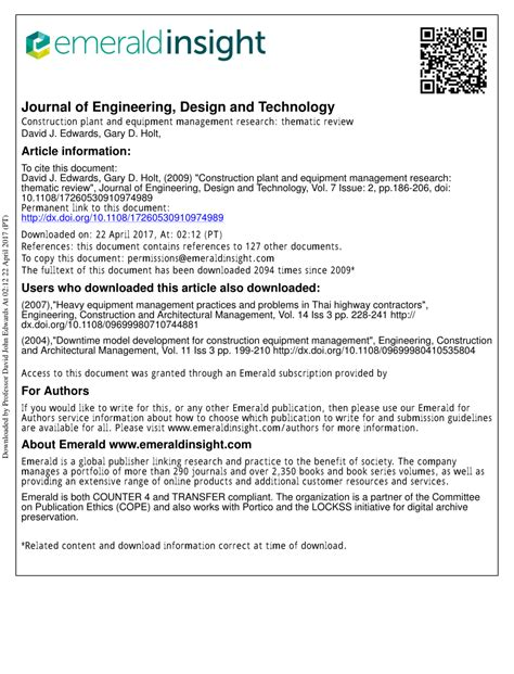 design management review journal construction plant and equipment management research