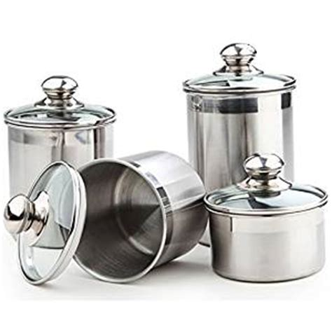kitchen counter canister sets amazon com 5 piece stainless steel canister set medium