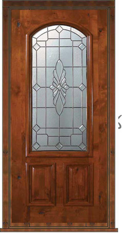 Wood Doors With Glass Panels by Prehung Single Door 80 Wood Alder Versailles 2 Panel Arch