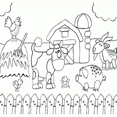printable farm animal images printable preschool coloring page of happy farm animals