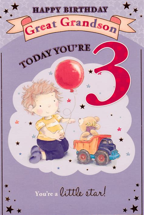 Grandson Birthday Cards Uk Happy Birthday Great Grandson Today You Re 3 Card Cards