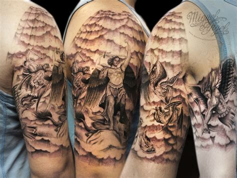 tattoo angel clouds michael archangel battle and clouds and holy rays custom t