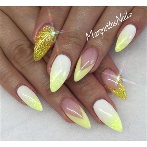 nails designs yellow acrylic and white 35 yellow nail art ideas to try on