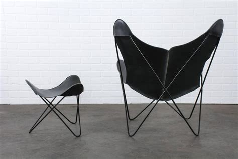 Butterfly Chair With Ottoman Vintage Midcentury Leather Butterfly Chair With Ottoman At 1stdibs
