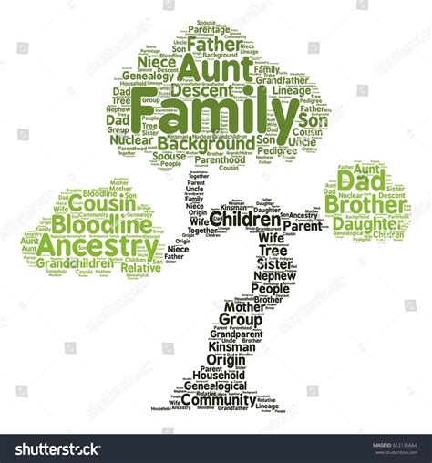 typography word cloud family word cloud tree typography stock vector 612136664