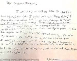 Apology Letter To Friend For Damaging His Bicycle Sixth Grader Writes Written Apology Letter 911 Prank Onlinenigeria