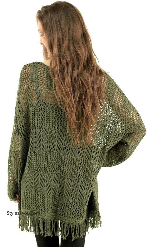 Fringe Oversized rainey oversized bohemian sweater with fringe olive monoreno top m9103 monoreno boho sweater