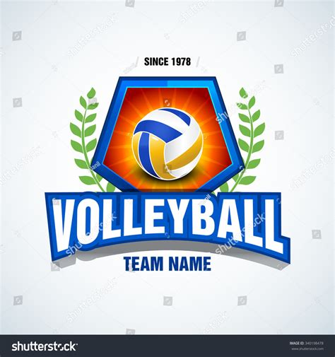 volleyball team logo template volleyball emblem stock