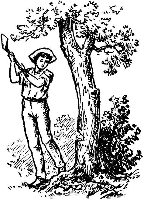man felling  tree clipart