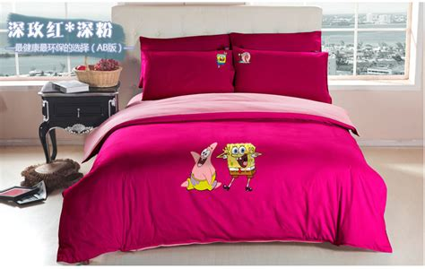 Aliexpress Com Buy Cartoon Spongebob Queen Bed Sheets Stores That Sell Bedding Sets