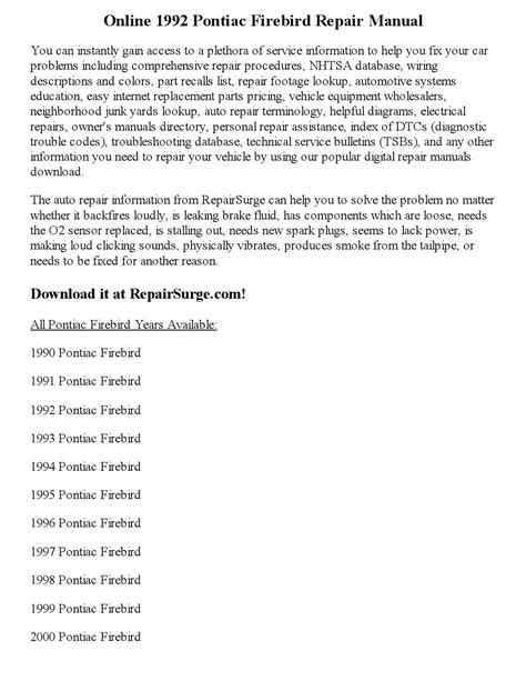 car repair manuals online pdf 1992 pontiac firebird seat position control 1992 pontiac firebird repair manual online by sweyer issuu