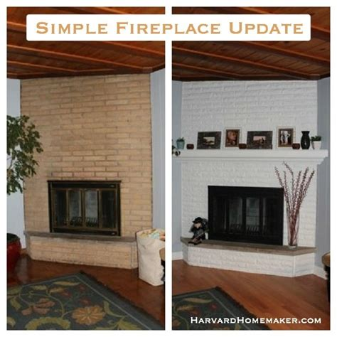 simple fireplace update just paint the brick add the mantle and use resistant black