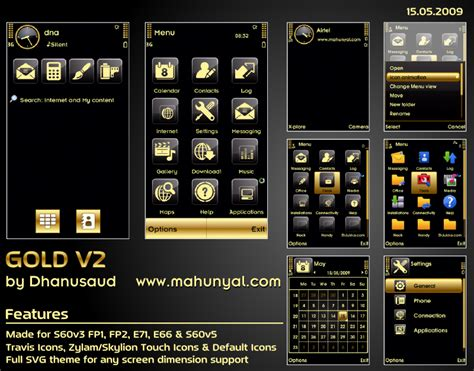 gold icon themes mobile phone tool download gold v2 theme s60v3 v5 by