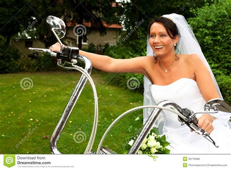 Bride On Harley Davidson Bike Royalty Free Stock Image