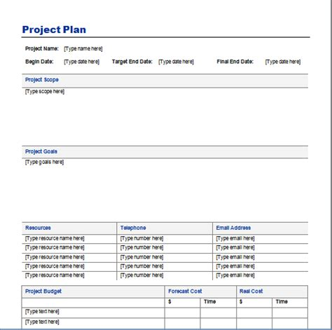 project template project plan template free layout format