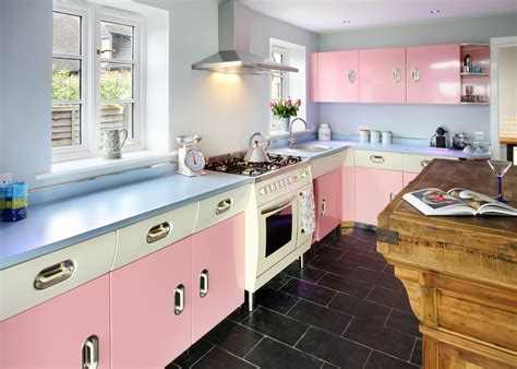 Sink Island Kitchen by 25 Pastel Kitchens That Channel The 1950s